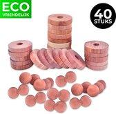 Cederhout tegen motten - 40 Stuks - 20 Ringen - 20 Ballen - Natuurlijke mottenballen - Duurzame mottenval - Motten bestrijden - Duurzame anti mot - Sinterklaas