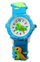 Dinosaurus horloge - 3D - kinderen - lichtblauw/groen - analoog - 28 mm - I-deLuxe verpakking