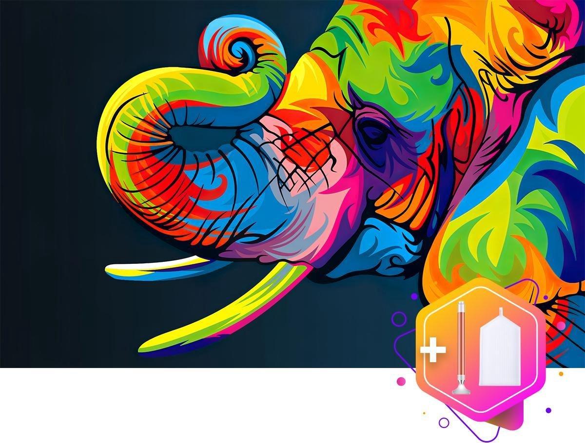 Pcasso® Olifant Multicolor - Diamond Painting - Incl. LED-Pen, 4 Opzetstukjes En XXL Bakje - Diamond Painting Kinderen - Diamond Painting Dieren - Inclusief Luxe Diamond Painting Pen - 30x40 CM