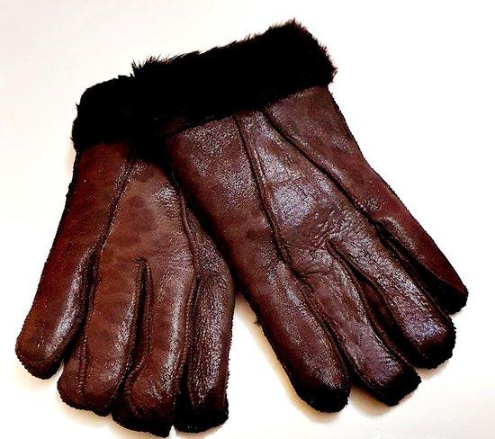 Lamsvacht Handschoenen Heren Lederen handschoenen One size schapenvacht bruin met patroon