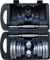 Bol.com-Dumbells set 20 kg chrome met koffer | Voor professioneel gebruik | Dura-Strong gewichten met garantie-aanbieding
