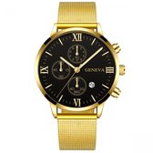 Hidzo Horloge Geneva Ø 41 - Met Datumaanduiding - Goud/Zwart - Staal