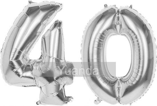 40 Jaar Folie Ballonnen Zilver - Happy Birthday - Foil Balloon - Versiering - Verjaardag - Man / Vrouw - Feest - Inclusief Opblaas Stokje & Clip - XL - 115 cm