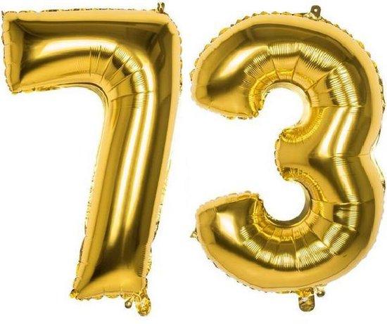 73 Jaar Folie Ballonnen Goud - Happy Birthday - Foil Balloon - Versiering - Verjaardag - Man / Vrouw - Feest - Inclusief Opblaas Stokje & Clip - XXL - 115 cm