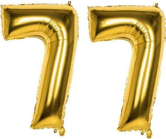 77 Jaar Folie Ballonnen Goud - Happy Birthday - Foil Balloon - Versiering - Verjaardag - Man / Vrouw - Feest - Inclusief Opblaas Stokje & Clip - XXL - 115 cm