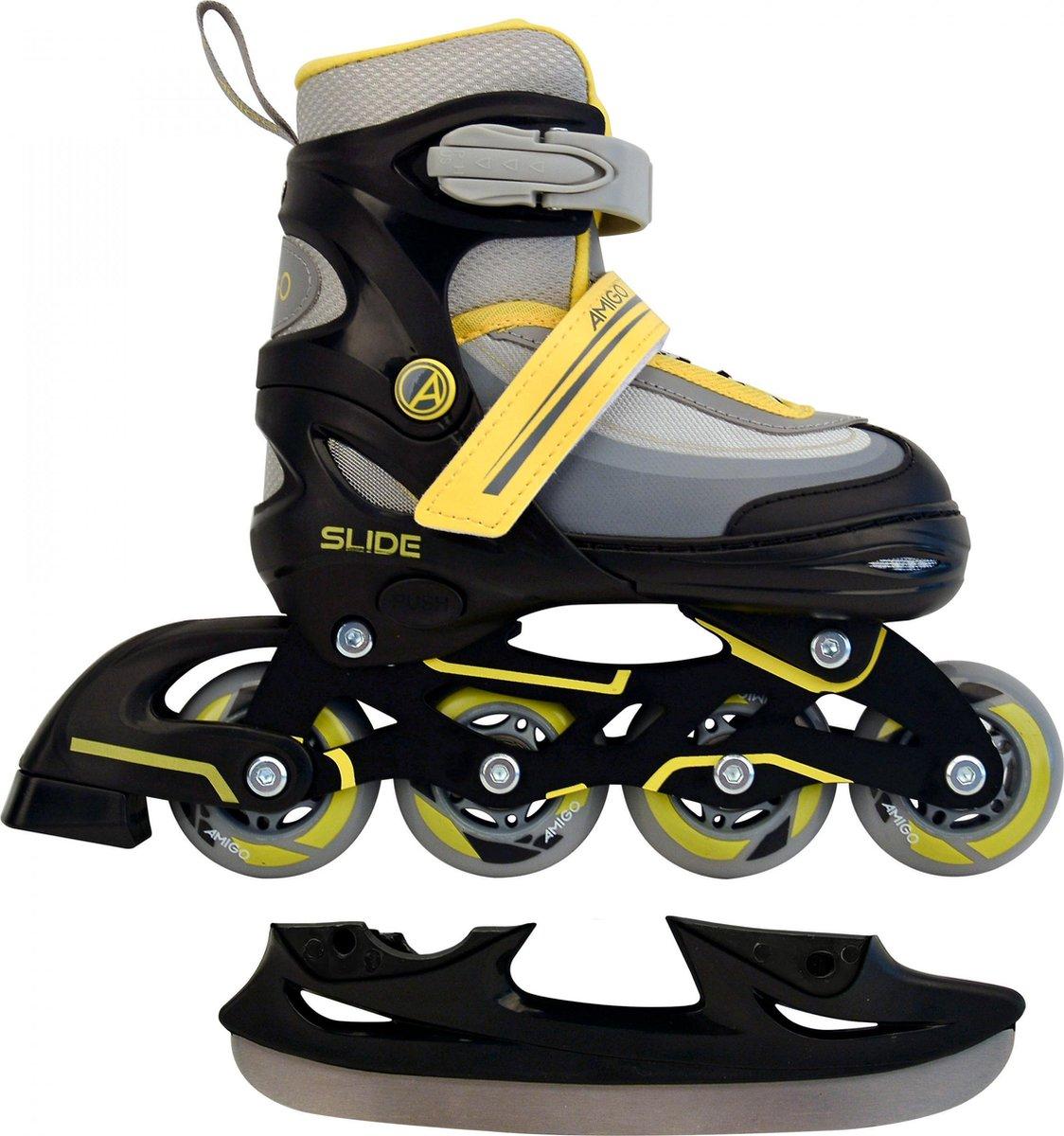 AMIGO Slide 2-in-1 skates - Voor jongens en meisjes - Zwart/Geel - Maat 34-37