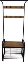 MIRA Home - Garderoberek - Kapstok met zitbank en schoenenrek - Multifunctioneel - Industrieel - Hout look - 74x33,7x183