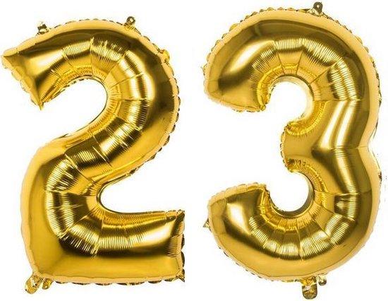 23 Jaar Folie Ballonnen Goud - Happy Birthday - Foil Balloon - Versiering - Verjaardag - Man / Vrouw - Feest - Inclusief Opblaas Stokje & Clip - XXL - 115 cm