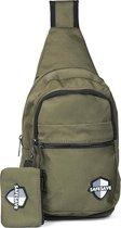 SafeSave crossbodybag – Waterafstotende tas met portemonnee en usbpoort – telefoon of tablet opladen – schoudertas – groen
