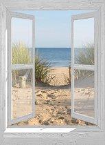 Tuinposter - 130x95 cm - doorkijk - openslaand wit venster - duinovergang - tuindecoratie - tuindoek - tuin decoratie - tuinposters buiten - tuinschilderij