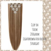 Clip In Extensions DUBBELSET 200gr 50cm Mix lightbrown/ash blond