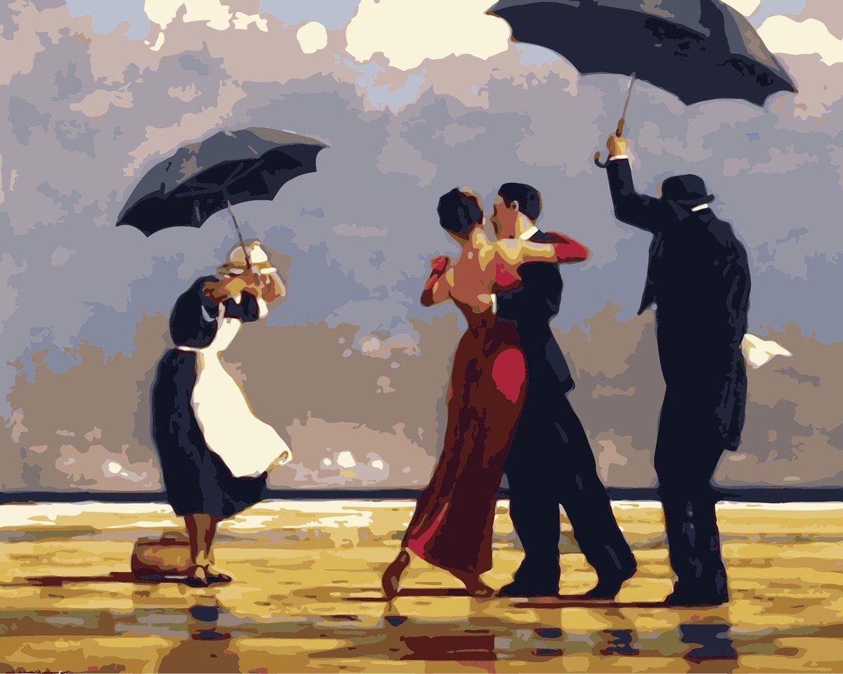Joeni® - Schilderen Op Nummer - 40x50cm - Geschenkverpakking - Dansen in de regen   Paint By Numbers Volwassenen - Kunst - Bekend Schilderij - Landschap - Mensen - Strand