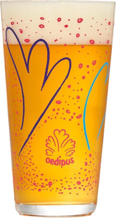 Oedipus speciaal bierglazen - 33cl - 6 stuks - bierpakket - vaasje - cadeauset