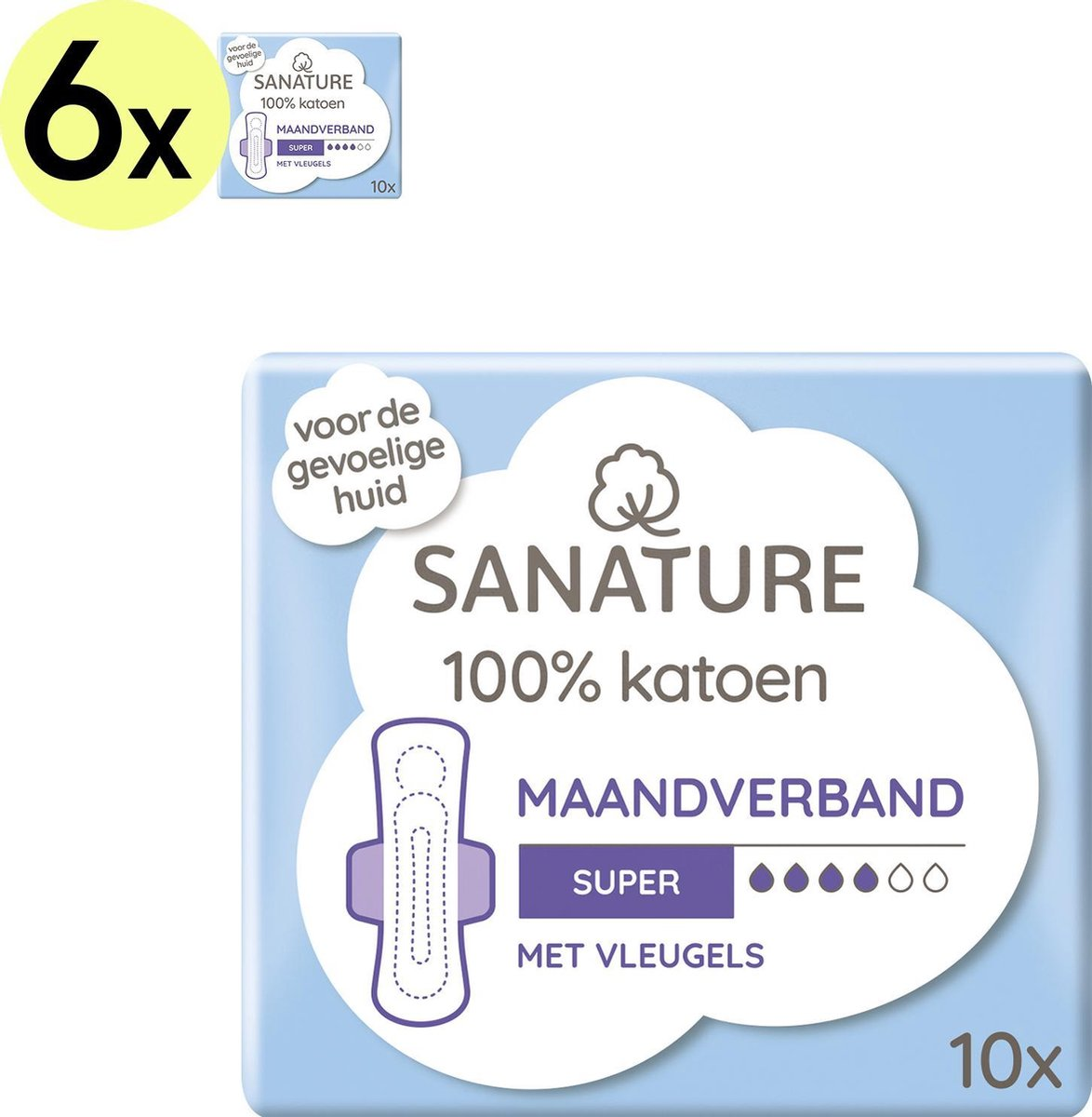 Sanature 100% Katoenen Maandverband Super met vleugels 6 x 10 stuks