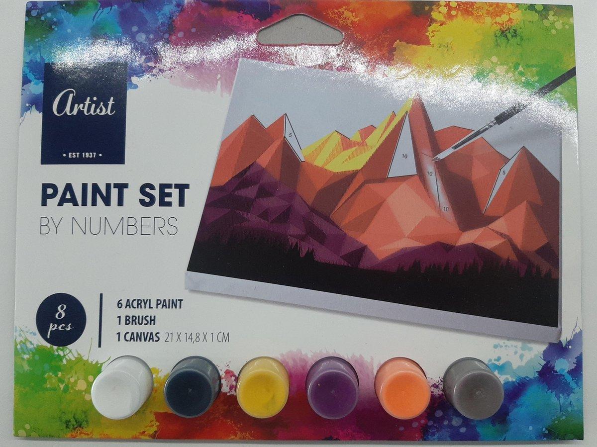 Schilderen op nummer - 6 kleuren acryl verf, kwast en 1 canvas schilderij - paint set by numbers Mountain - Artist