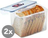 Lock&Lock Vershoudbakjes   Bewaardozen voedsel   Brooddoos   Broodtrommel - Set van 2 - 3,9 liter - Transparant