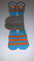 Hondensokken / Kattensokken - Lichtblauw / Oranje - Strepen - Antislip - 4 stuks - Maat S - 3x6cm - 1 paar - 4 sokken - Katoen - Blauw
