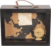 Spaarpot wereldkaart Zwart ,  Clayre & Eef