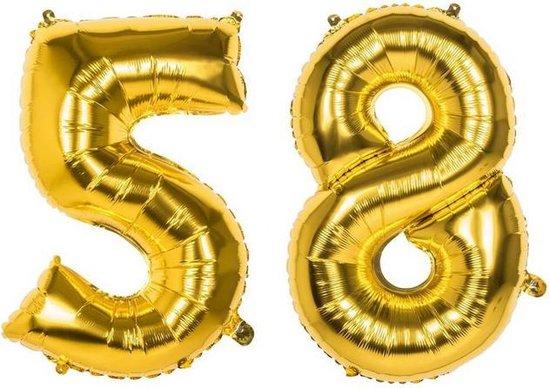 58 Jaar Folie Ballonnen Goud - Happy Birthday - Foil Balloon - Versiering - Verjaardag - Man / Vrouw - Feest - Inclusief Opblaas Stokje & Clip - XXL - 115 cm