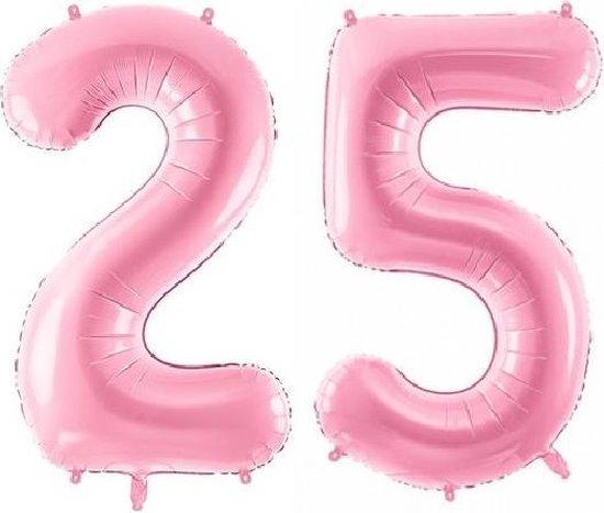 Folie ballon cijfer 25 jaar – 80 cm hoog – Roze - met gratis rietje – Feestversiering – Verjaardag - Bruiloft