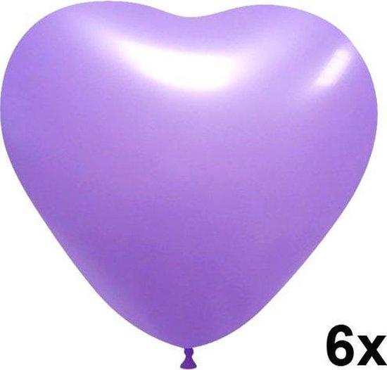Hartjes ballonnen lavendel, 6 stuks, 28cm