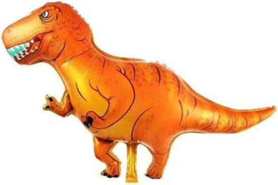 Dino ballon - Oranje - XXL - 77x104cm - Ballonnen - T-rex - Dino feest - Thema feest - Verjaardag - Helium ballon - dinosaurus ballon - Folie ballon