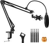 UPLY Microfoon Arm - Inclusief Popfilter en Shockmount - Microfoon Arm Zonder Microfoon - Microfoon statief - Opvouwbaar - 360 Graden - Zwart