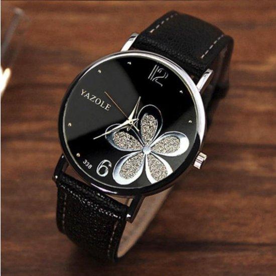 Hidzo Horloge Yazole Bloem Ø 37 - Zwart/Zilver - In Horlogedoosje