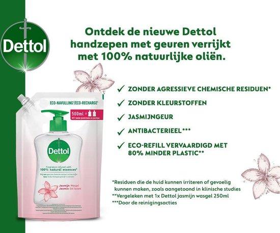 Dettol Handzeep Navulling - Antibacterieel - Jasmijn - 100% natuurlijke oliën - 2 x 500ml
