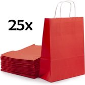 PrimeAmbition Kraft Papieren Tasjes Met Handvat – 25 Stuks – Rood – 18 x 8 x 24 cm – Papieren Zakjes - Gift Bag – Geschenktas – Cadeautasjes – Cadeauzakjes – Cadeau Tas