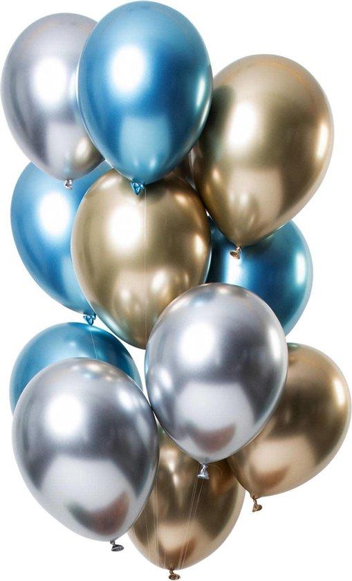 50 stuks Trendy assortiment grote Chrome ballonnen - chrome zilver, chrome goud en chrome blauw verjaardag ballonnen - extra groot 36 cm lang - top kwaliteit bio afbreekbaar latex - voor helium, lucht, etc. - met snel sluiters t.w.v. 10,95