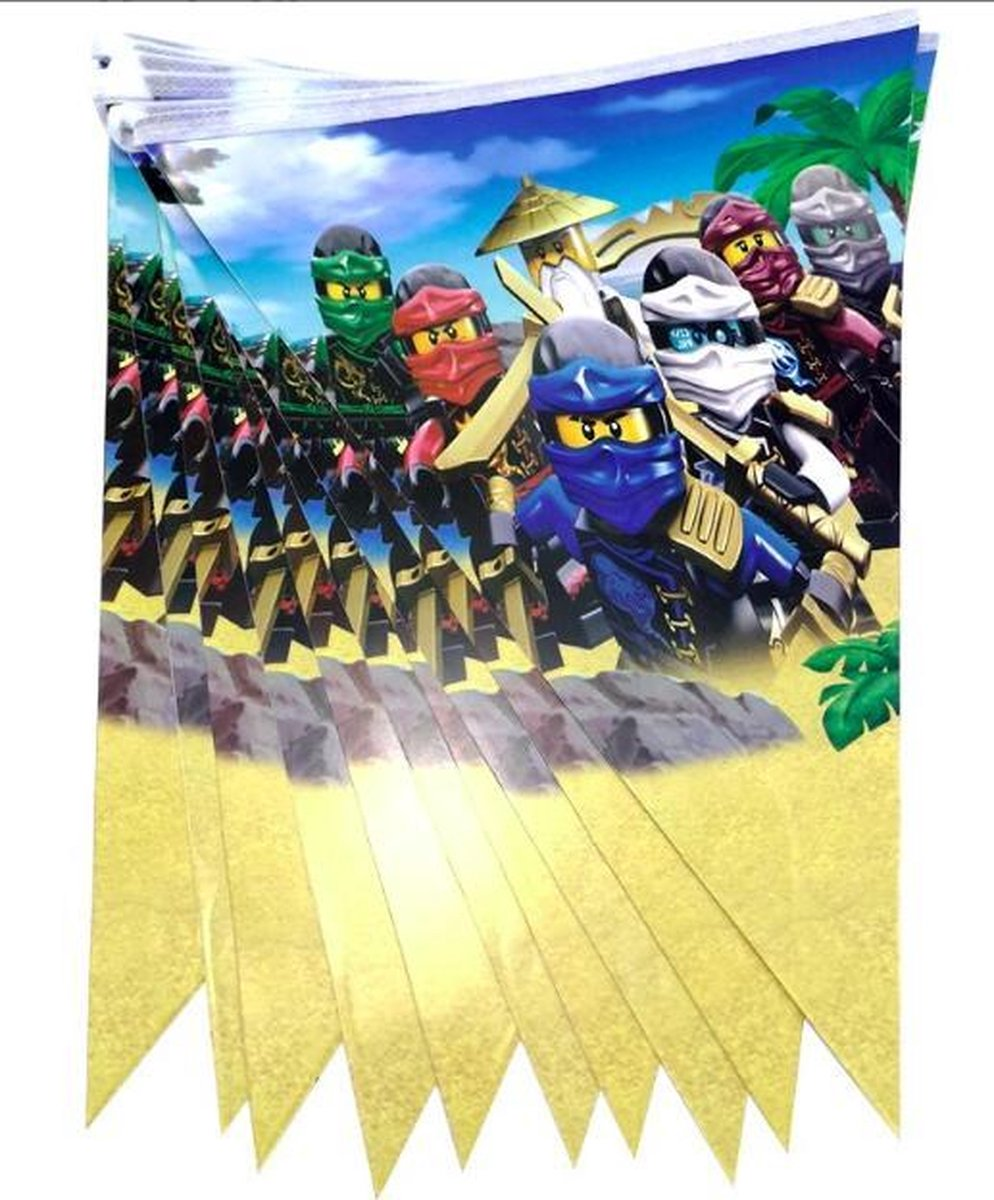 ProductGoods - Lego NinJaGo slinger - Lego NinJaGo vlaggenlijn versiering 2,3 meter - Feestdecoratie - 10 vlaggen - Kinderfeestje Decoratie - Lego NinJaGo