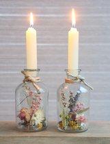 Droogbloemen in Glas met Kaarsen - Decoratieve Flessen met Kaars - Droogbloemen met vaas - 2 stuks - Gedroogde Bloemen Decoratie