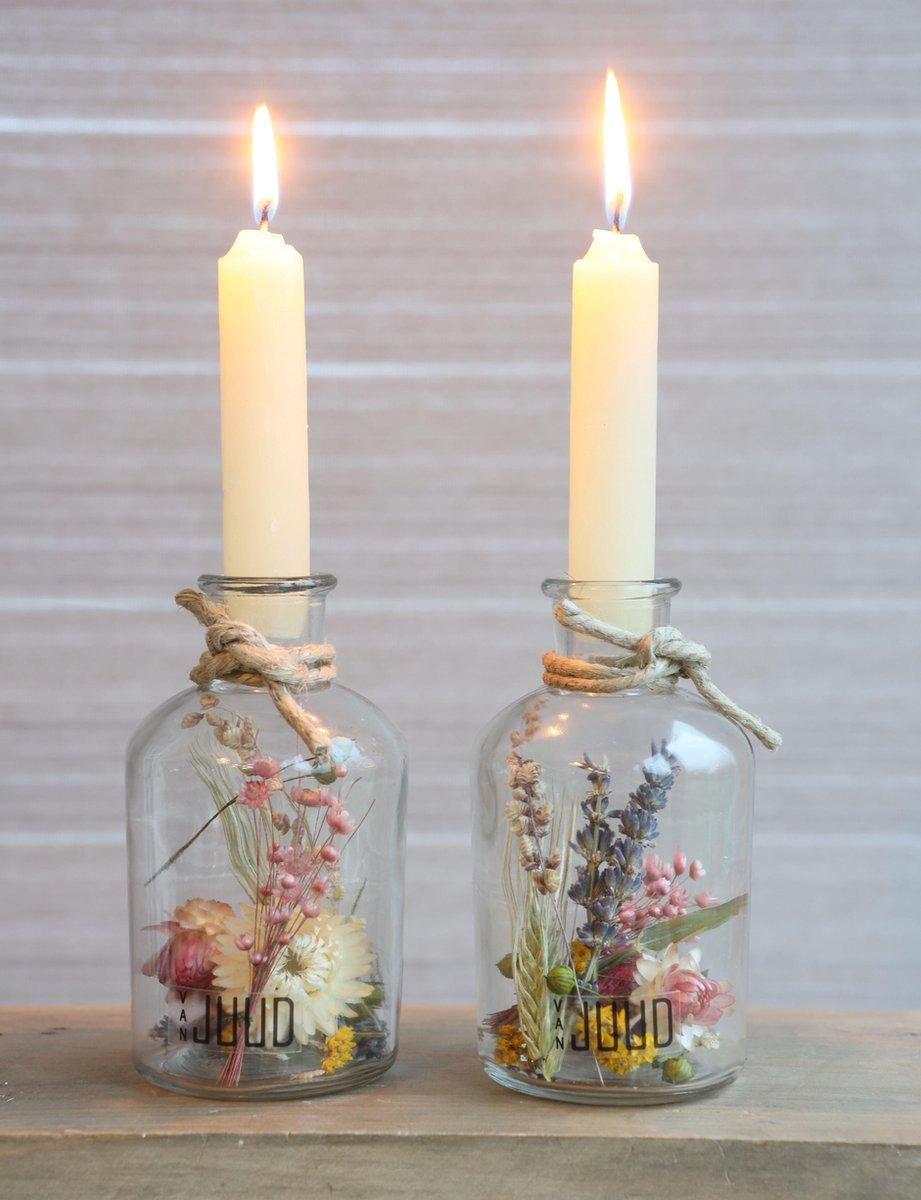 Droogbloemen in Glas met Kaarsen - Decoratieve Flessen met Kaars - Droogbloemen met vaas - 2 stuks -