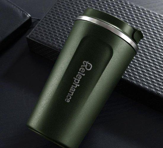 Relephance RVS Koffiebeker To Go - Thermos Beker - Reisbeker - Auto - Fitness - Reizen - BPA Vrij - 380 ml - Leger Groen