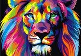 Leeuw / tijger in neon kleuren - graffiti style canvas Poster 100x70 (Excl rand gemeten) ''Mirror-Edge'' rand voor gekleurde zijkant