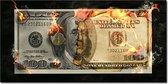 Dollar burning - Geld brand / vernietigd - canvas poster 100x50 (Excl rand gemeten) ''Mirror-Edge'' rand voor gekleurde zijkant