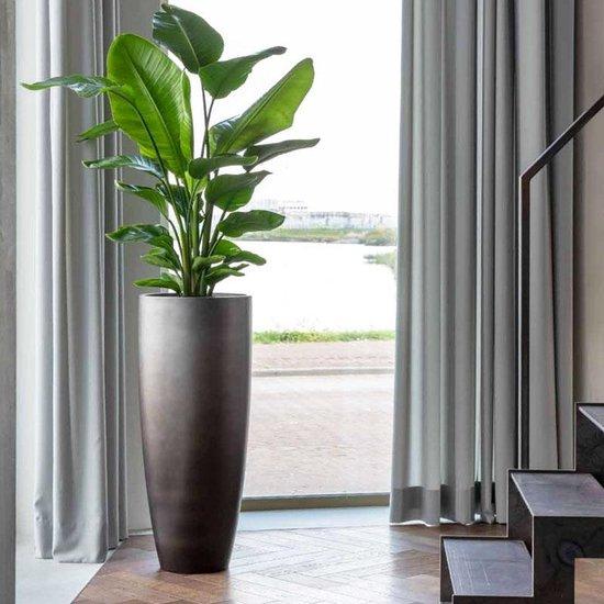 Hoge vaas XL taupe zilver metallic - grote bloempot / plantenbak