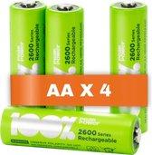 100% Peak Power oplaadbare batterijen AA - Duurzame Keuze - NiMH AA batterij mignon 2300 mAh - 4 stuks