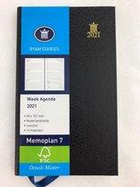 Zakagenda 2021 - Ryam - Memoplan 7 - Harde Kaft - Zwart - 15cm x 9cm