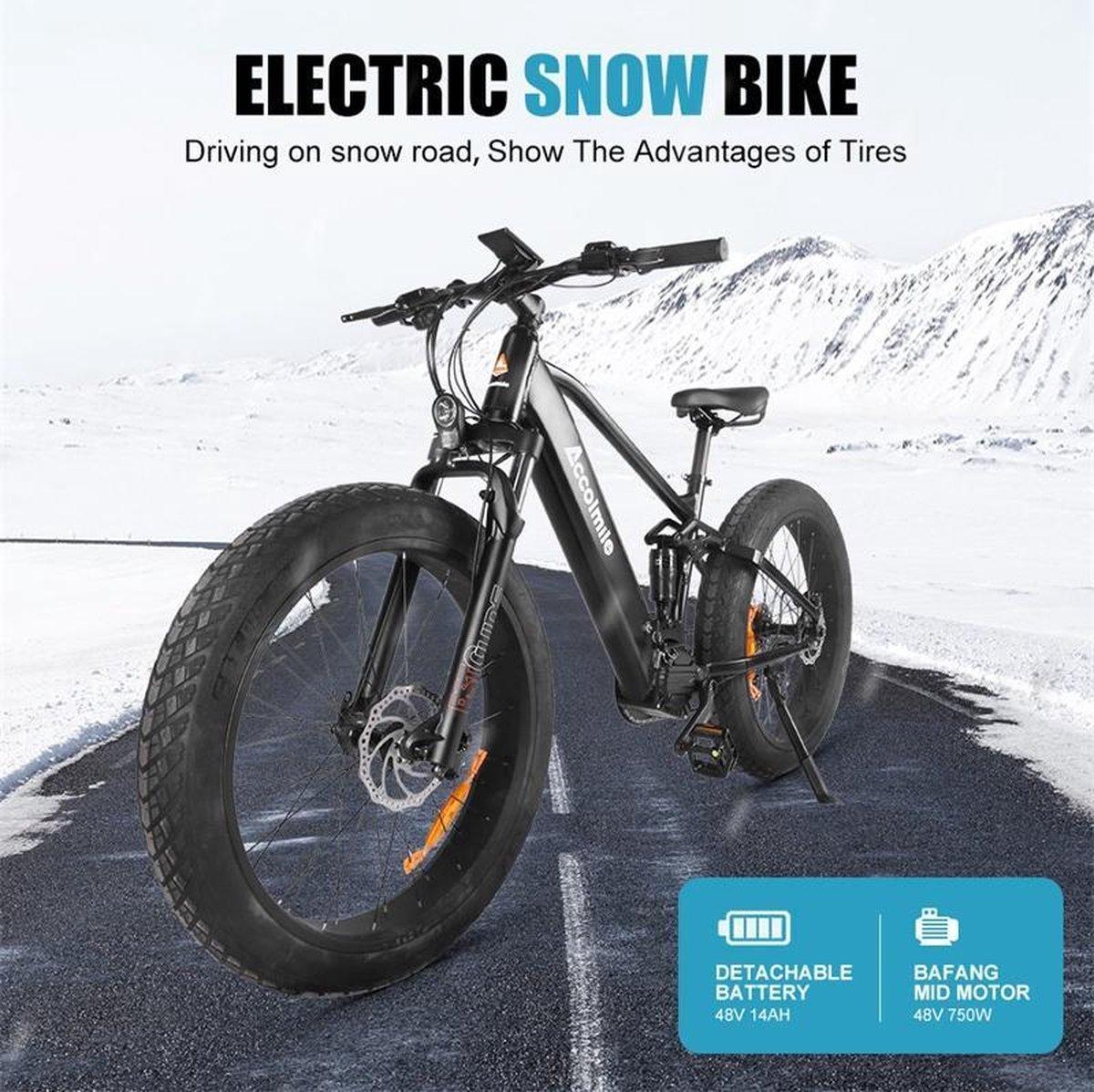 Ebike Sport 26'' 48V 750W electric bike, >50 km/h, kleur zwart, 9 Speed  Fat tyre