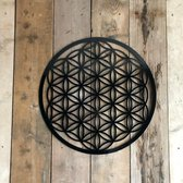 Flower of Life glans zwart 59 cm acrylaat wanddecoratie dike 3 mm