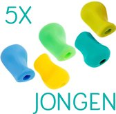 Glim® Potloodgrip 4+1 Gratis - Potlood verdikker - Pencil grip - Penverdikking soft - voor kinderen - Linkshandig en rechts - Jongen
