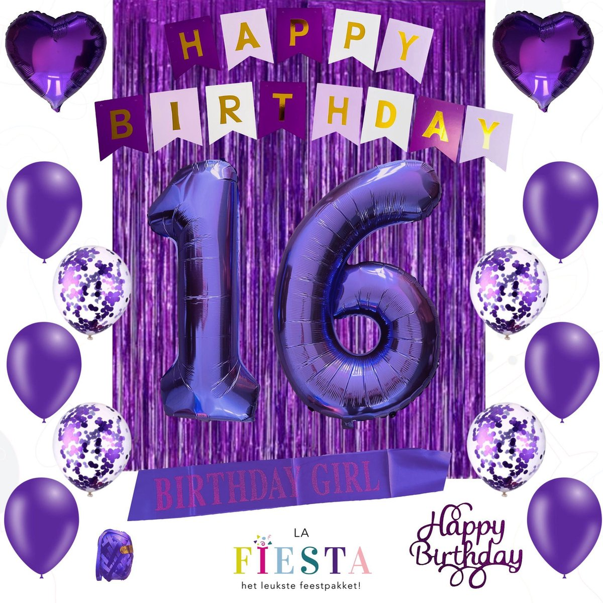Sweet 16 - 16 Jaar - Paars/Violet - Verjaardag Versiering - Versiering Verjaardag - Feestartikelen - Verjaardag Decoraties