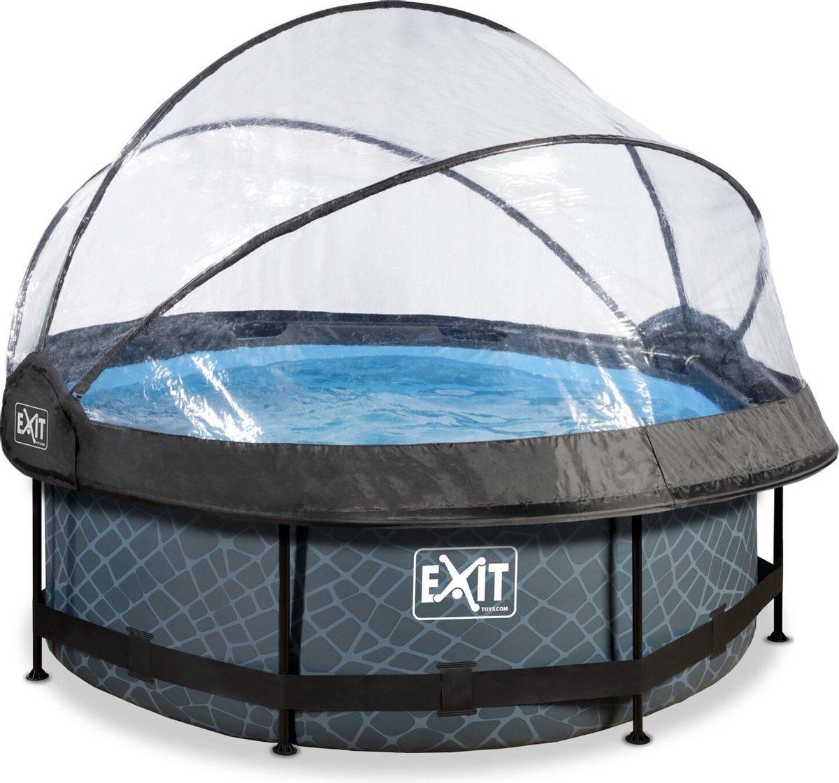EXIT Stone zwembad ø244x76cm met overkapping en filterpomp - grijs