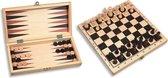 Schaakspel hout - Inklapbaar schaakspel - 29 x 29cm - Reis schaakbord met schaakstukken - Backgammon en Dammen