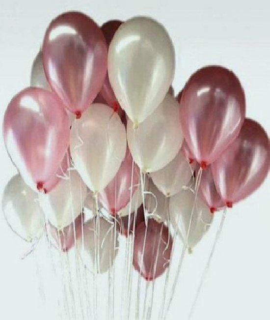 Luxe Metallic Ballonnen Roze Wit - 25 Stuks - Helium Ballonnenset Feest Verjaardag Birthday - Babyshower Party Wedding Bruiloft Huwelijk Valentijn