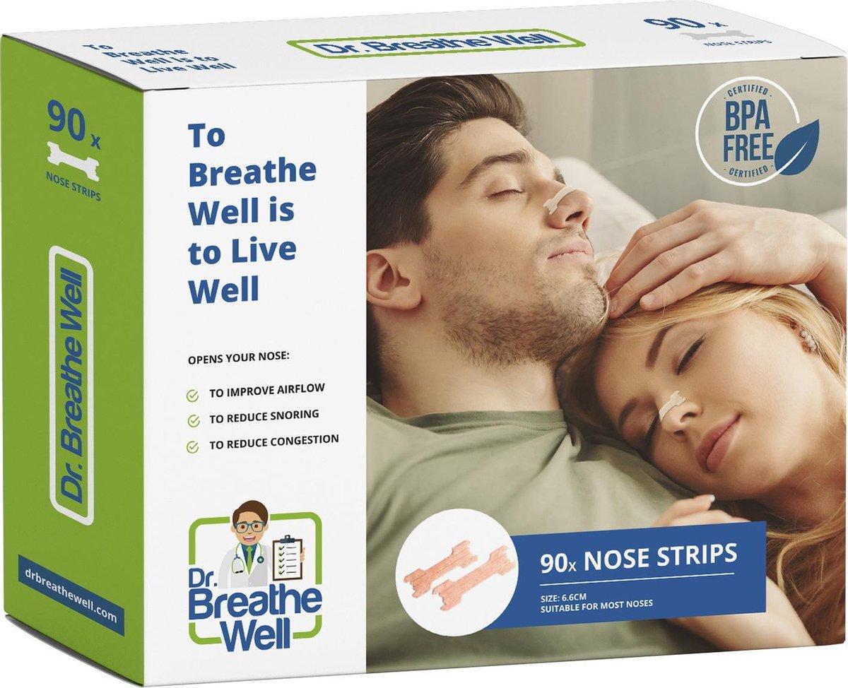 Dr. Breathe Well   - Neuspleisters - Anti Snurk Pleisters - 90 Neusstrips - Sterke kleefstof - Eenvo