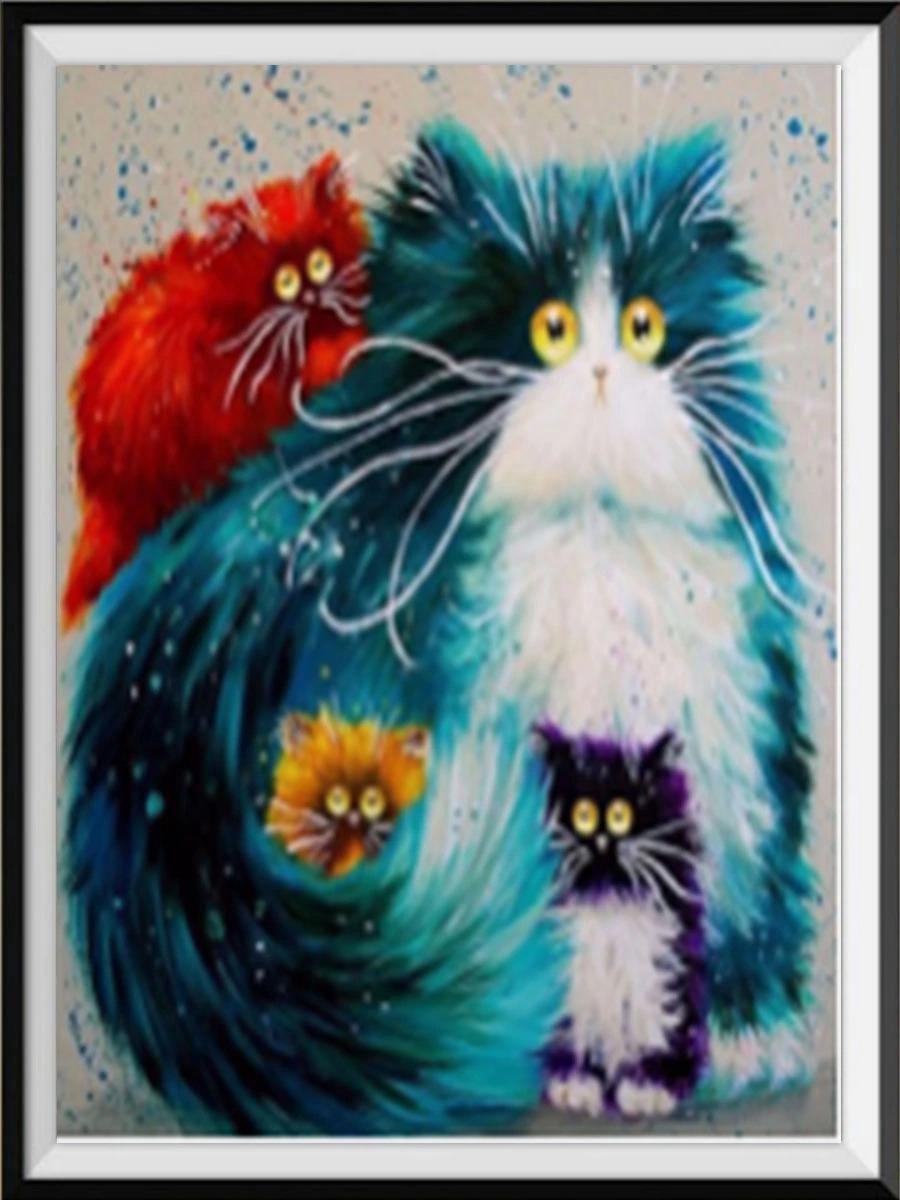Premium Paintings - Vier katten - Diamond Painting Volwassenen - Pakket Volledig / Pakket Full - 30x40 cm - Moederdag cadeautje