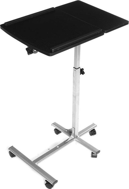 laptoptafel met wielen verstelbare hoogte van 71 tot 91 cm zwart